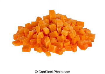Chopped Carrots - Chopped raw carrots isolated on white...