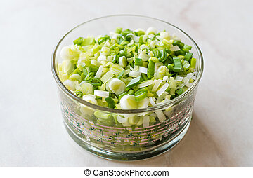 Chopped Chives in Glass Bowl for Salad.
