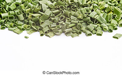 Chopped chives on white background