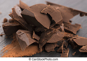 Chopped chocolate with cacao