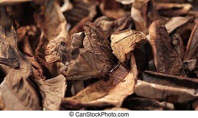 chopped dried mushrooms as background - chopped dried...