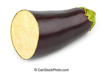 Chopped eggplant isolated on white background