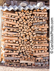 chopped firewood kiln and stacked in the woodpile