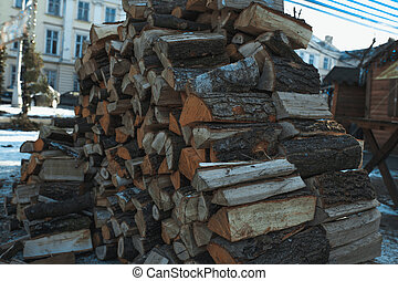 Chopped Firewood on a stack