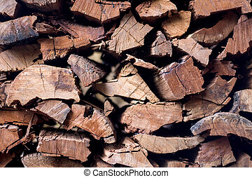 Chopped firewood on a stack.