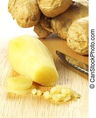 Chopped ginger root, closeup - Peeled and chopped fresh...