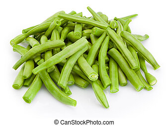 Chopped green beans isolated on white background