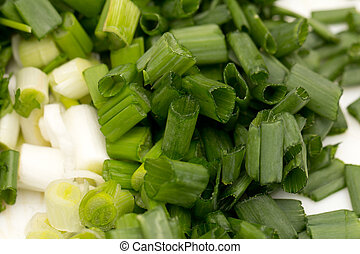 chopped green onions. macro