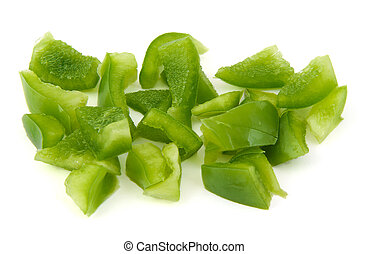 Chopped green pepper on white background.