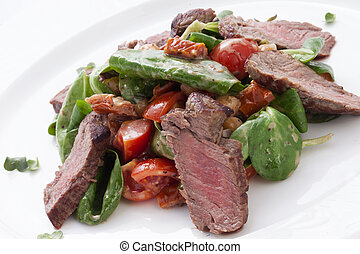 chopped meat with salad in a plate