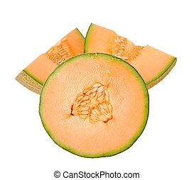 chopped melon isolate on white background