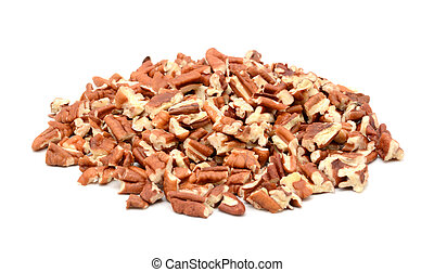 Chopped pecan nuts, isolated on a white background
