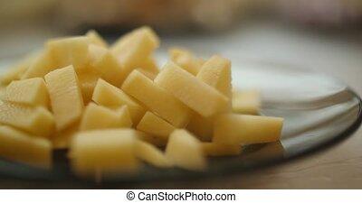 Chopped potato closeup 4k
