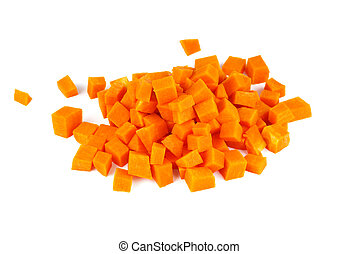 Chopped pumpkin isolated on white background