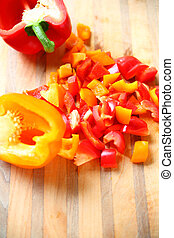 Chopped red and yellow bell peppers
