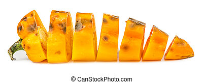 Chopped rotten yellow bell pepper isolated