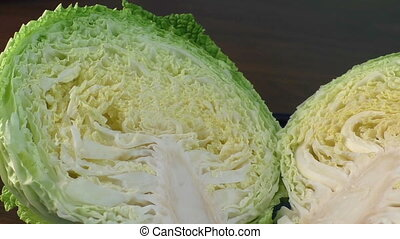 Chopped savoy cabbage on the table