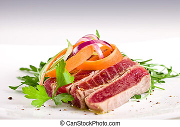 Chopped Tuna over fresh arugula salad - chopped tuna over...
