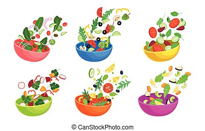 Chopped Vegetable Salad Ingredients Falling Down in the Bowl Vector Set