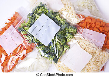 Chopped Vegetables and Cheese in Freezer Bags - Chopped...