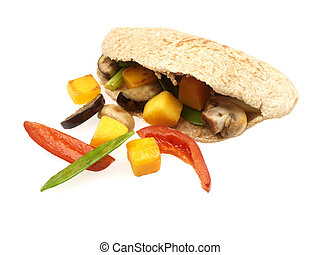 Chopped Vegetables in Wholemeal Pitta