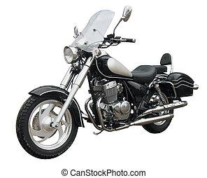 chopper - black motorcycle isolated on white background