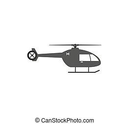 chopper, ilustração, design., apartamento, icon., helicóptero, vetorial