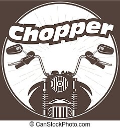 Chopper moto handlebar with rear-view mirrors