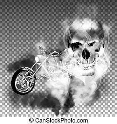 chopper motorbike with skull in smoke - Motobike chopper in...