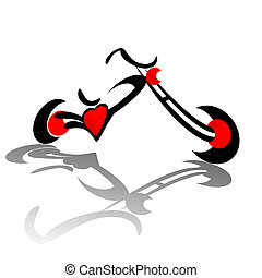 Chopper Red Heart - Chopper motorcycle with red heart engine...