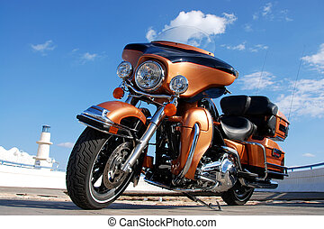 Chopper - View of a shine Harley Davidson chopper...