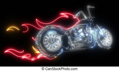 chopper with flames and customize video animation - chopper...
