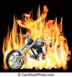 chopper with flames - Vector illustration chopper with...