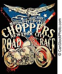 choppers, ouderwetse , typografie, illustratie, tee, t-shirt, bezig met afdrukken van, ontwerp, retro, motorfiets