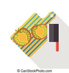 chopping board tomato flat icon