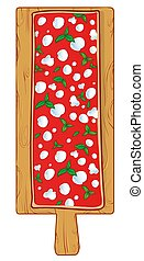 chopping board with Pizza margherita by the Meter in Beech Wood. vetcor illustration