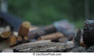 Chopping Firewood at Dusk