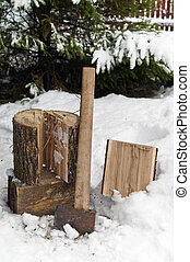 Chopping Firewood In Winter