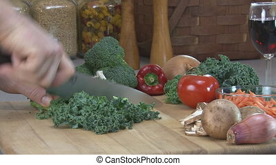 Chopping Kale - Preparing food - chopping kale 30fps,...