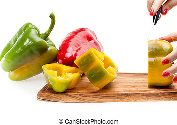 Chopping Peppers On Board