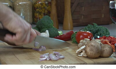 Chopping Shallots 2 - Preparing food - Slicing shallots....