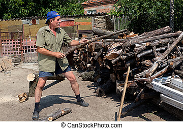 Chopping wood for the winter