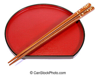 Chopsticks and plate - Chopsticks and traditional Japanese...