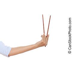 Chopsticks in a hand