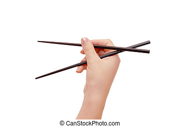 Chopsticks in a hand isolated on white