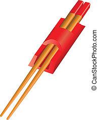 Chopsticks in a special holder in red. Vector illustration.