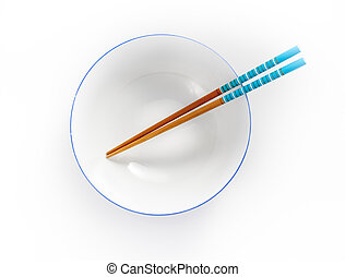 chopsticks in empty bowl isolated on a white background