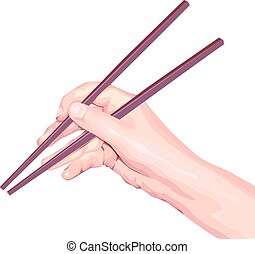Chopsticks in hand. Isolated illustration in vector format