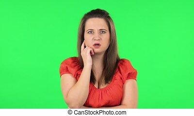 choqué, information, upset., écoute, girl, vert, alors, ...