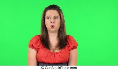 choqué, super, girl, dit, expression., vert, portrait, écran...